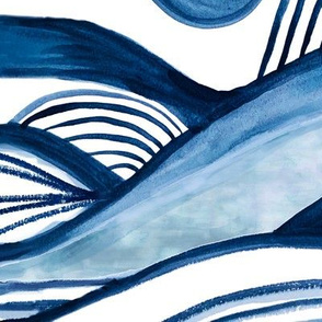 Indigo Shibori Mountain Watercolor