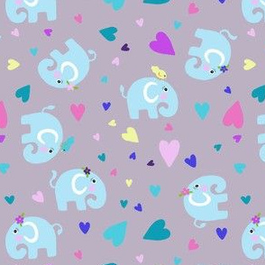 Elephants & Multi Colour Hearts