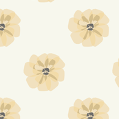 Modern Flowers Tan, Gold, Yellow, Grey Symmetrical, Elegant Simple Floral Repeat Contemporary Design