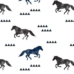 Wild horses // navy and black distressed C19BS