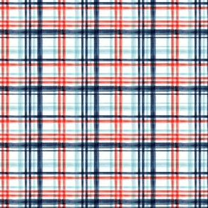 (extra small scale) Red and blue watercolor plaid (blue) LAD19BS