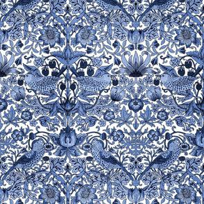 William Morris ~ Strawberry Thief ~ Blue and White ~ Medium