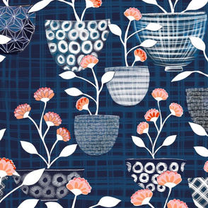 Pick me. Pick me! Shibori Pattern flower bowls