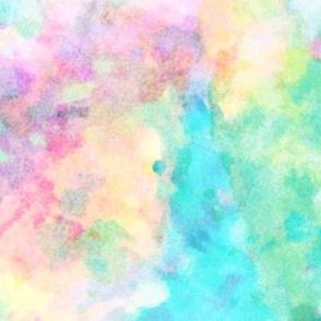 Abstract Rainbow Soft Watercolour Paint & Splatter Large