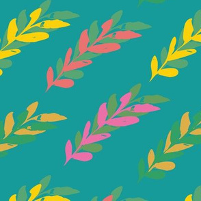 turquoise seamless leaves watercolour pattern design