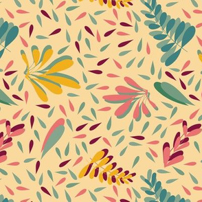 yellow blue pink vector leaves seamless background pattern design. Perfect for textile design, fabric design or surface design.