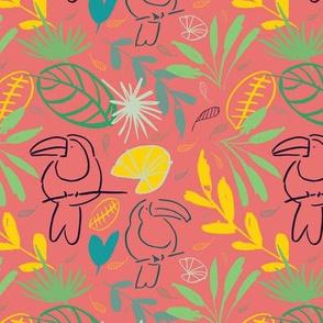 pink jungle tucan seamless pattern background design