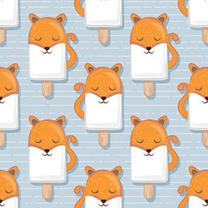 Kawaii Cuddly Foxy Ice Creams // small scale // fox popsicles on pale blue background