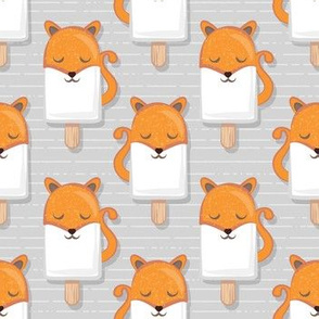 Kawaii Cuddly Foxy Ice Creams // small scale // fox popsicles on light grey background