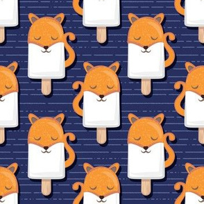 Kawaii Cuddly Foxy Ice Creams // small scale // fox popsicles on navy blue background