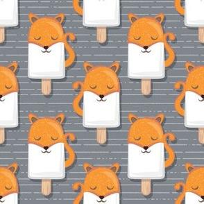 Kawaii Cuddly Foxy Ice Creams // small scale // fox popsicles on dark grey background