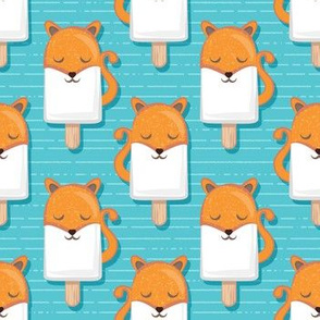 Kawaii Cuddly Foxy Ice Creams // small scale // fox popsicles on blue background
