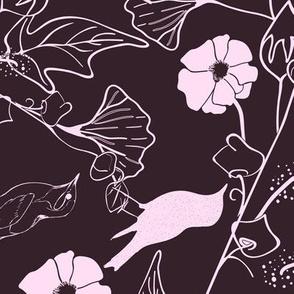 Birds, branches, ginkgo in soft sweet pink and dark