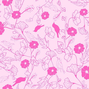 Birds and branches in soft pink