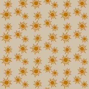 sun sunflower - small scale tan background