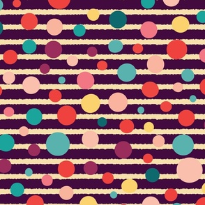Colorful polka dots on stripes