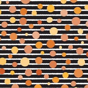 Yellow polka dots on stripes