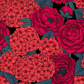 Hydrangea and peony in red