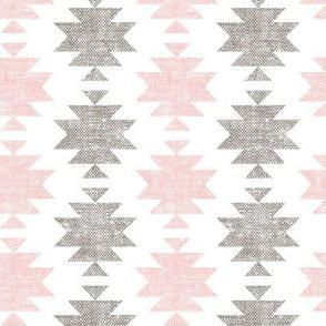 modern aztec || woven neutrals - pink on white C19BS