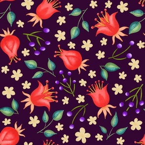 Red tulips on dark background