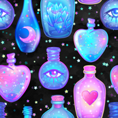Mystic potion bottles on black