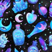 Mystic potion bottles on black