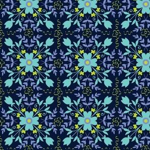 Floral symmetry on dark background