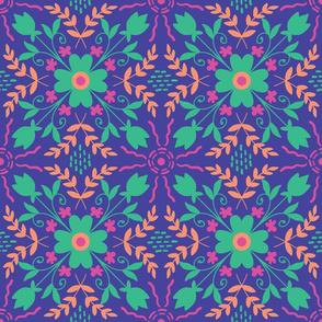 Symmetrical flowers on dark background
