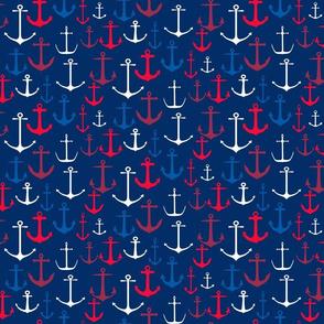 Red, White & Blue Anchors on Dark Blue