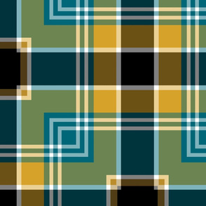 The Gold the Black and the Teal: Square Plaid