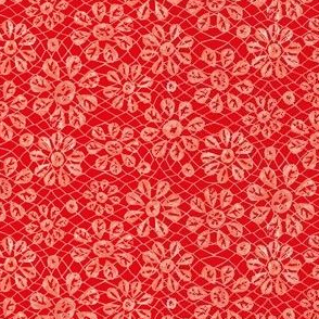 Coral Flower Lace hand printed