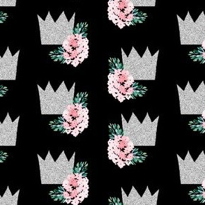"4"" Princess Crown with Florals Black"
