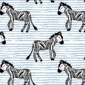 "4"" Zebras Blue Stripes"