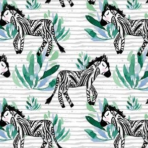 "4"" Zebras in the Wild with Plants Grey Stripes"