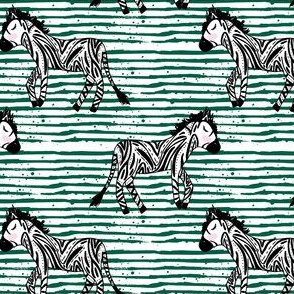 "4"" Zebras Green Stripes"
