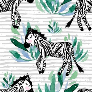 "8"" Zebras in the Wild with Plants Grey Stripes"
