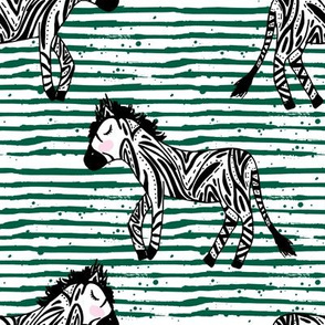 "8"" Zebras Green Stripes"