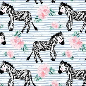 "4"" Zebras with Crown and Flowers Blue Stripes"