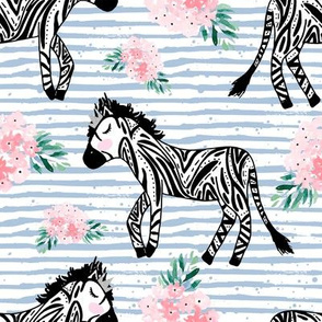 "8"" Zebras with Crown and Flowers Blue Stripes"