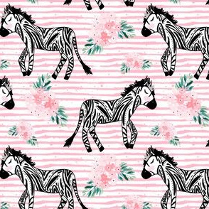 "4"" Zebras with Crown and Flowers Pink Stripes"