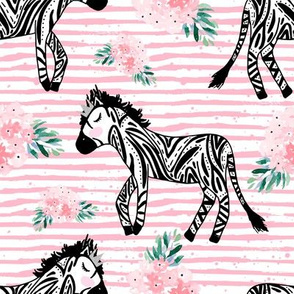 "8"" Zebras with Crown and Flowers Pink Stripes"