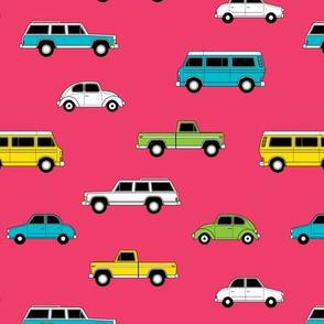 Retro Cars on Pink