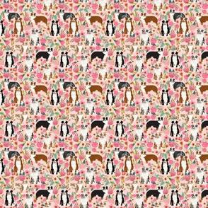 TINY - australian shepherds pink florals fabric pastel pinks fabric cute aussie dog fabrics best aussie dog fabric florals vintage les fleurs fabric