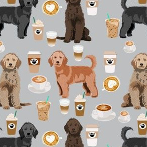 golden doodles coffee fabric - doodle dog fabric, doodle, coffee fabric, doodle dog, - grey