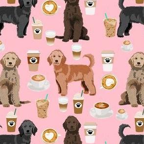 golden doodles coffee fabric - doodle dog fabric, doodle, coffee fabric, doodle dog, - pink