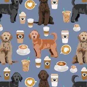 golden doodles coffee fabric - doodle dog fabric, doodle, coffee fabric, doodle dog, - blue