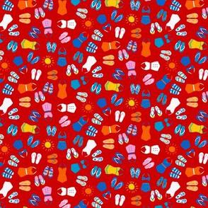 Retro Swim Tiny Ditsy on red