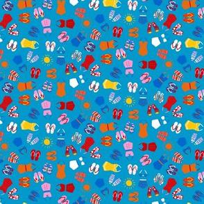 Retro Swim Tiny Ditsy on medium blue