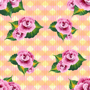 Roses on Pink and Yellow Gingham