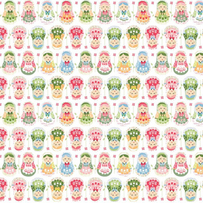 Nesting doll  russian dolls, pink, green-ed